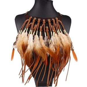 NEW Boho Feathers & Faux Suede Choker Necklace